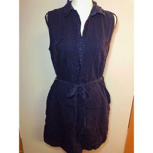 Velvet Heart Navy Blue Button Down Dress